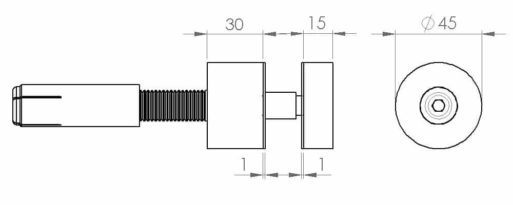 Crtež fiksnog tačkastog nosača AK-5008DC3