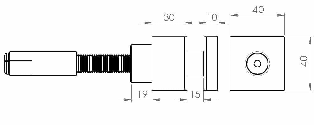 Crtež štelujućeg kvadratnog tačkastog nosača AK-5008DC5