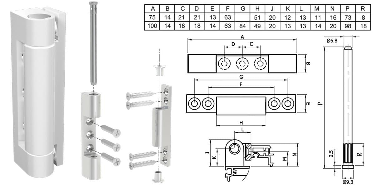 Šema montaže i tehnički crtež 2D šarke