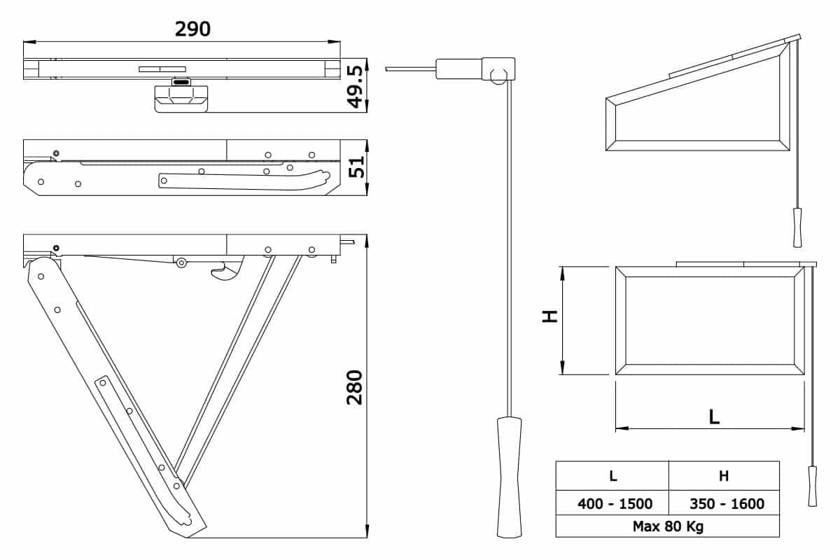 Tehnički crtež ventusa na kanap Savio Newton F7