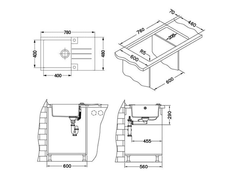 Tehnički crteži kuhinjske sudopere Alveus Rock 130