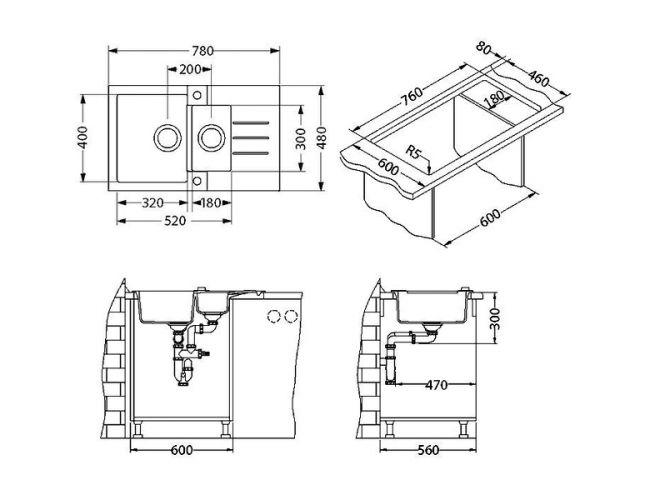 Tehnički crteži kuhinjske sudopere Alveus Rock 70