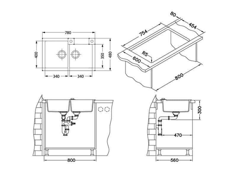 Tehnički crteži kuhinjske sudopere Alveus Rock 90