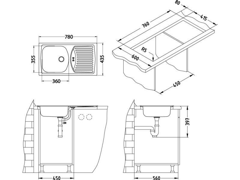 Tehnički crteži kuhinjske sudopere Alveus Basic 150 - ⌀60