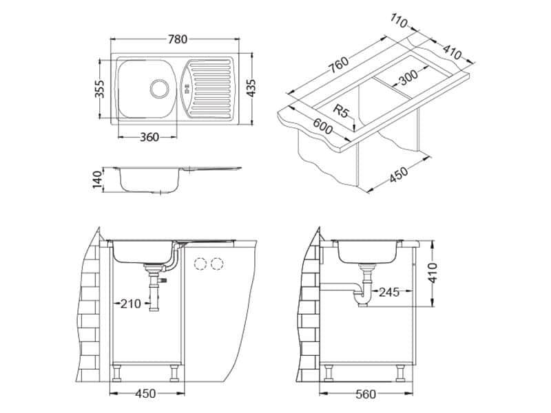 Tehnički crteži kuhinjske sudopere Alveus Basic 150 - ⌀90