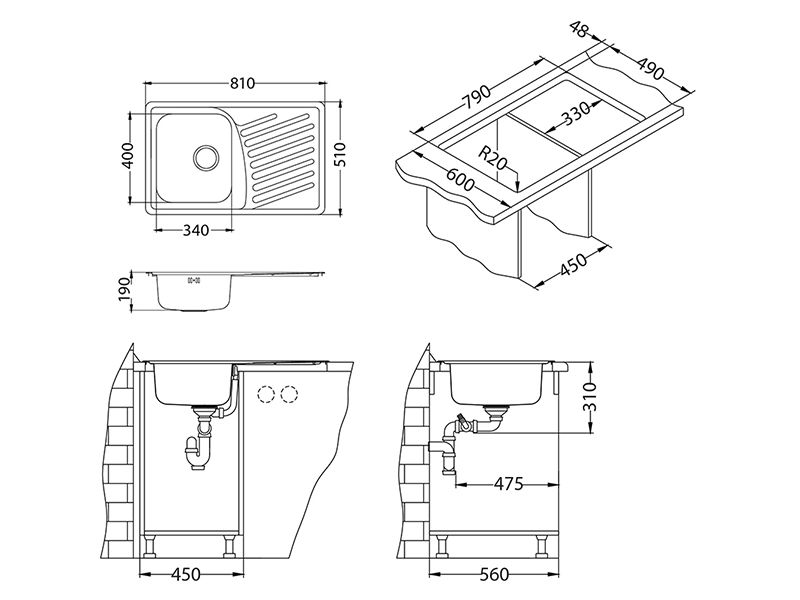 Tehnički crteži kuhinjske sudopere Alveus Elegant 30