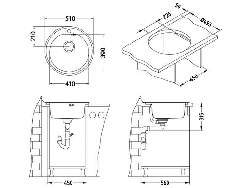 Kuhinjska sudopera Alveus Form 30 Inox - Tehnički crteži