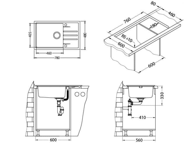 Tehnički crteži kuhinjske sudopere Alveus Intermezzo 130