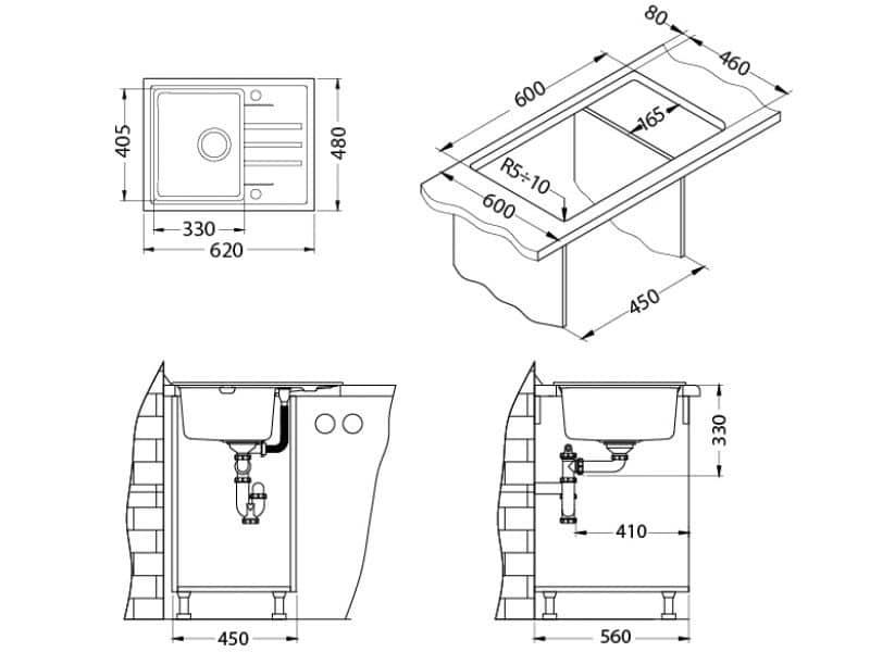 Tehnički crteži kuhinjske sudopere Alveus Intermezzo 30