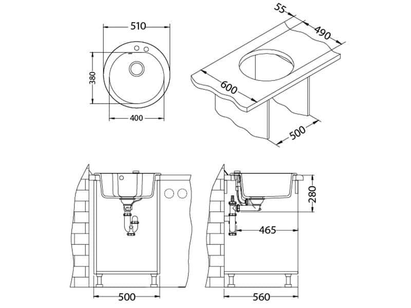 Tehnički crteži kuhinjske sudopere Alveus Niagara 10