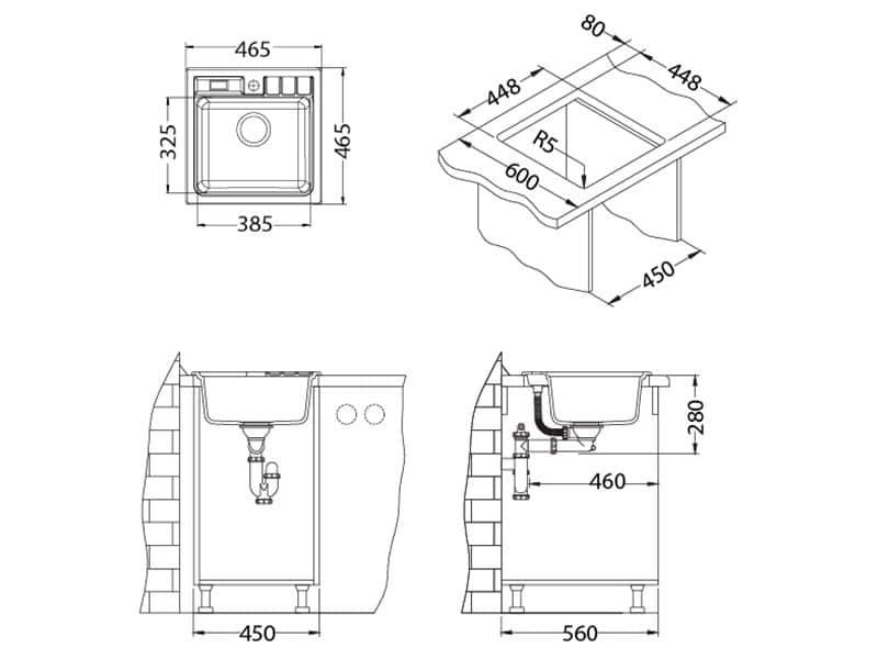 Tehnički crteži kuhinjske sudopere Alveus Niagara 20