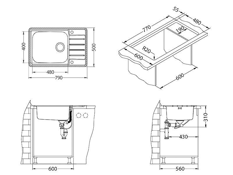Tehnički crteži kuhinjske sudopere Alveus Praktik 120