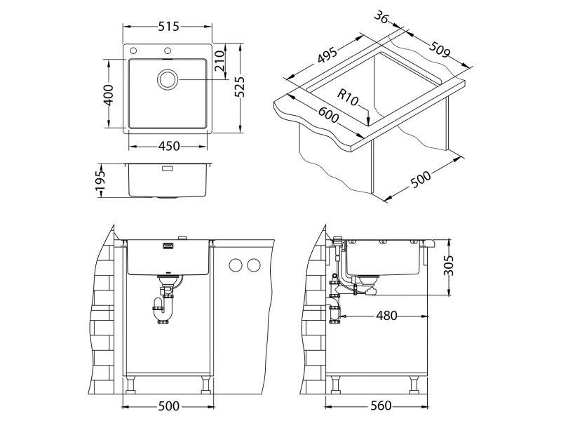Tehnički crteži kuhinjske sudopere Alveus Pure 30