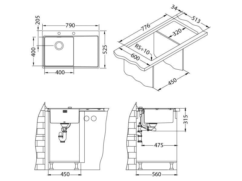 Tehnički crteži kuhinjske sudopere Alveus Pure 40