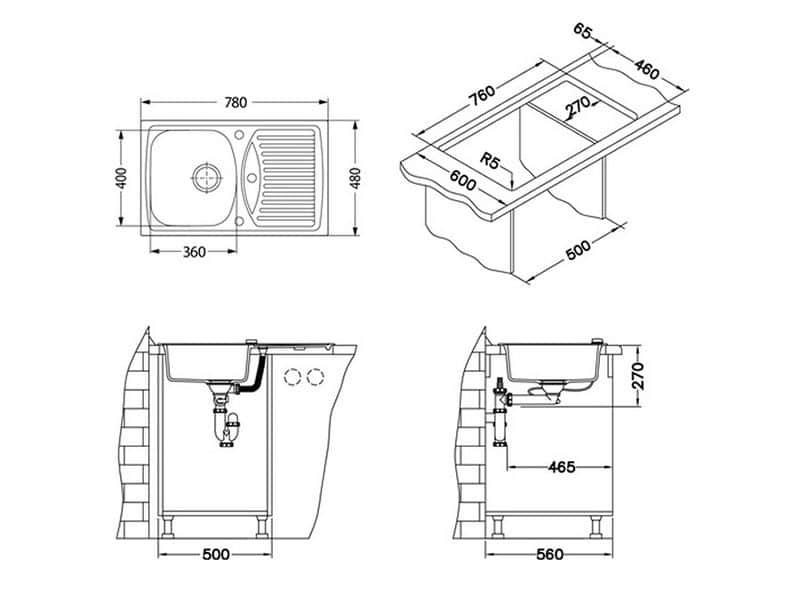 Tehnički crteži kuhinjske sudopere Alveus Record 30