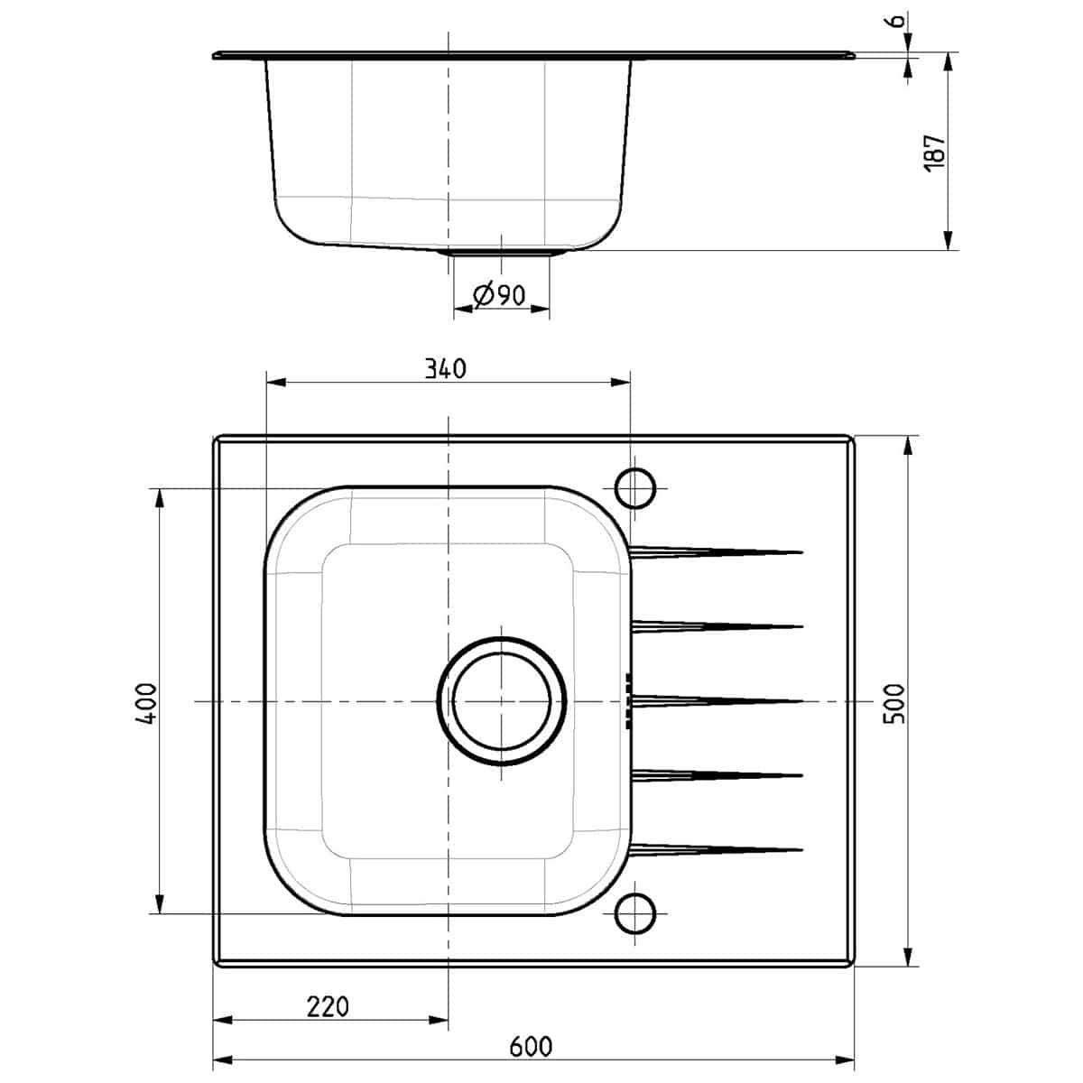 Tehnički crteži kuhinjske sudopere Alveus Vitro 10