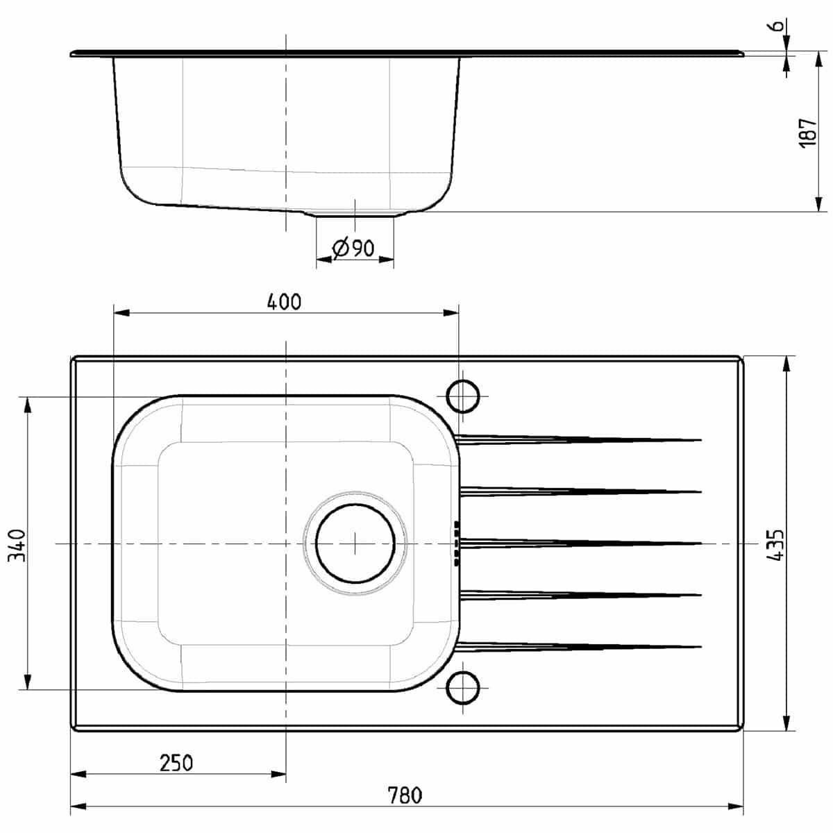 Tehnički crteži kuhinjske sudopere Alveus Vitro 20