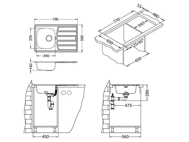 Tehnički crteži kuhinjske sudopere Alveus Zoom 20