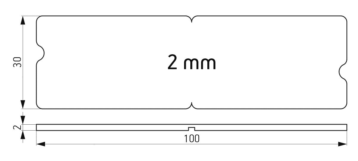 Lomljiva podloška 30x100x2 mm