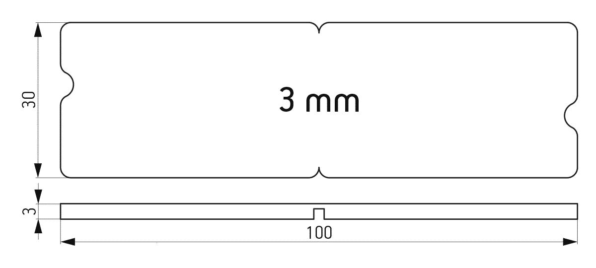 Lomljiva podloška 30x100x3 mm