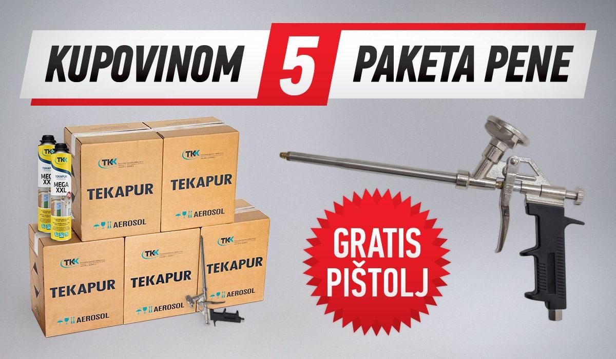Kupovinom 5 paketa pene po ceni od 34.200 RSD dobija se gratis pištolj