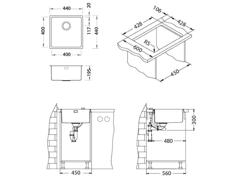 Tehnički crteži kuhinjske sudopere Alveus Kombino 30