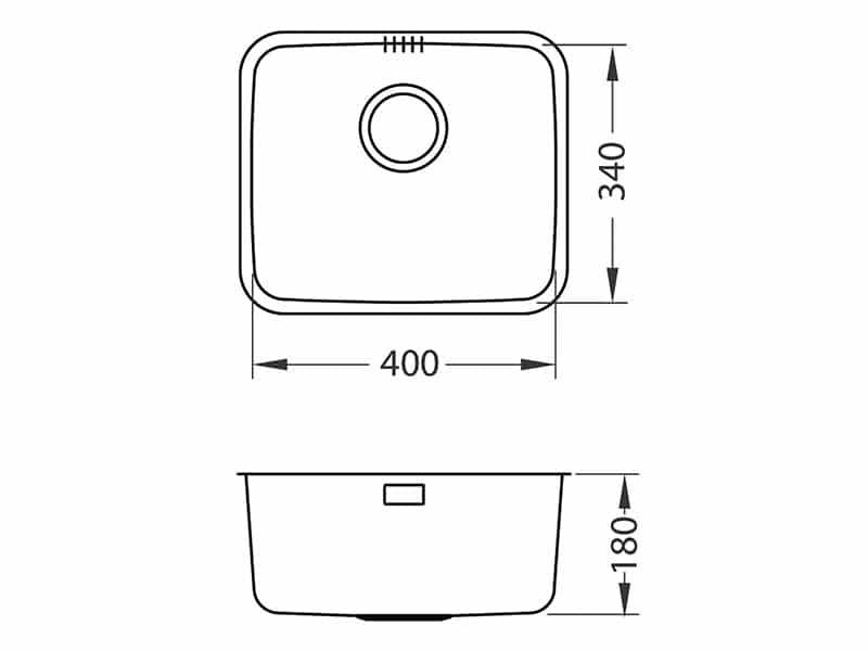 Tehnički crteži kuhinjske sudopere Alveus Luno 20