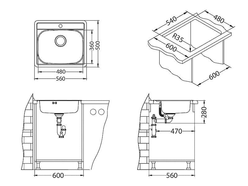 Tehnički crteži kuhinjske sudopere Alveus More 10