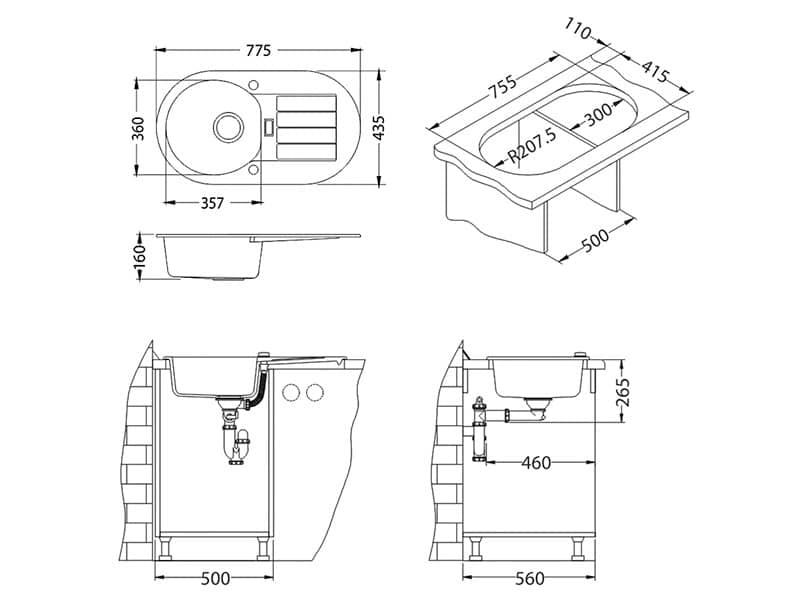 Tehnički crteži kuhinjske sudopere Alveus Niagara 40