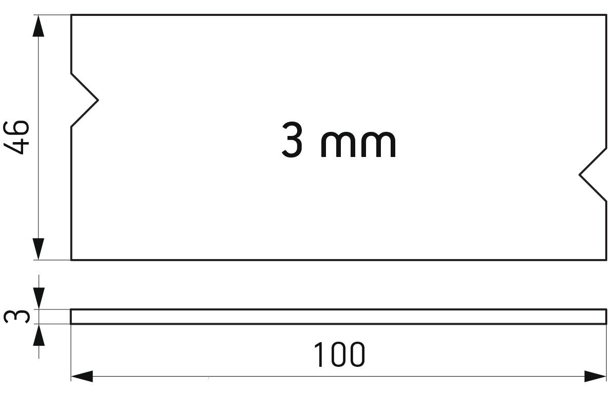 PVC podloška 46x100x3 mm za kajlovanje stakla