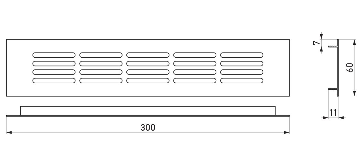 VRS-000A - Crtež ventilacione rešetke 60×300 mm