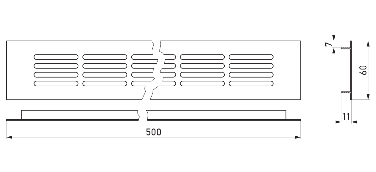 VRS-000B - Crtež ventilacione rešetke 60×500 mm