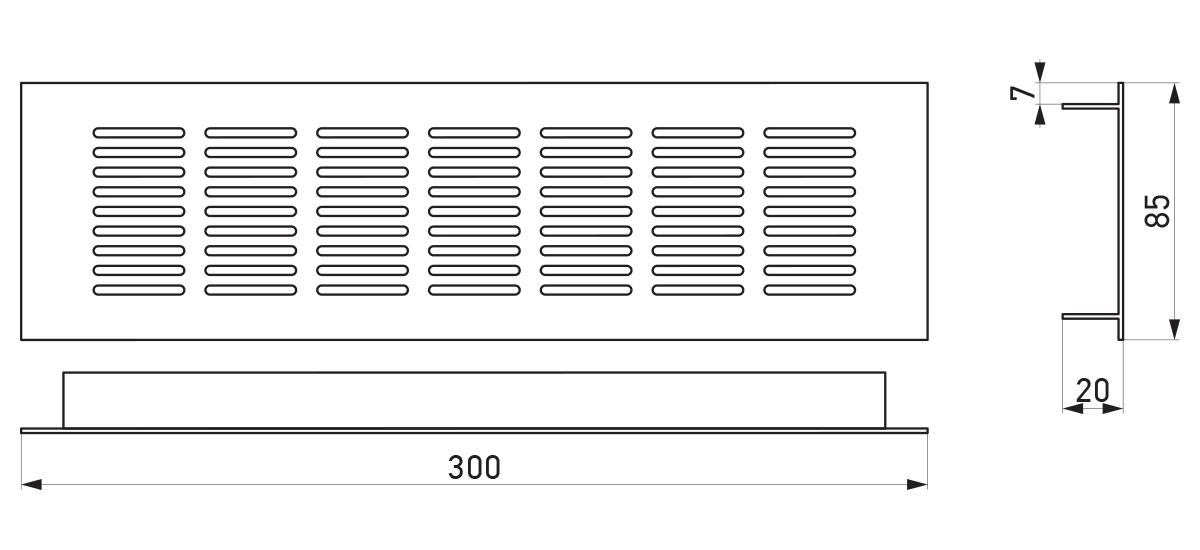 VRS-001 - Crtež ventilacione rešetke 85×300 mm