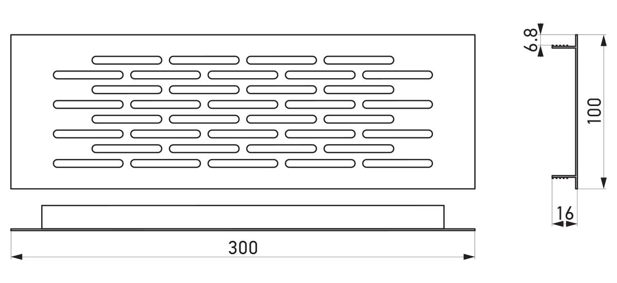 VRS-001A - Crtež ventilacione rešetke 100×300 mm