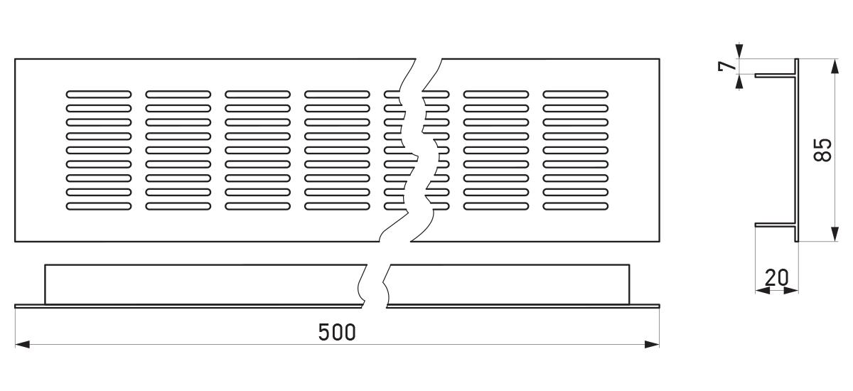 VRS-002 - Crtež ventilacione rešetke 85×500 mm