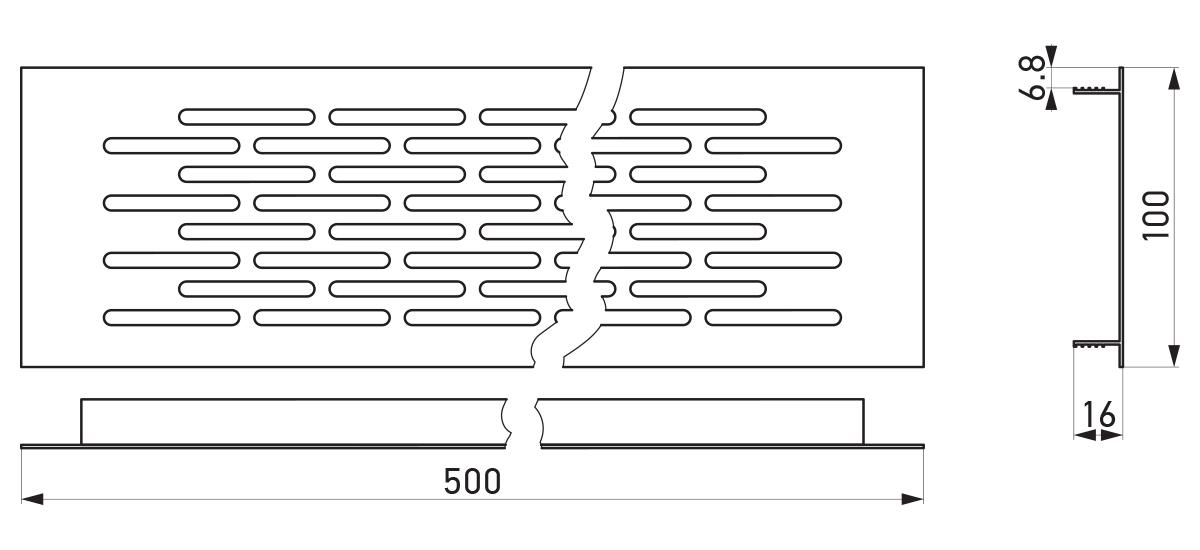VRS-002A - Crtež ventilacione rešetke 100×500 mm