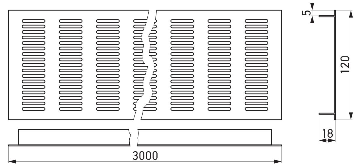 VRS-002C - Crtež ventilacione rešetke 120×3000 mm