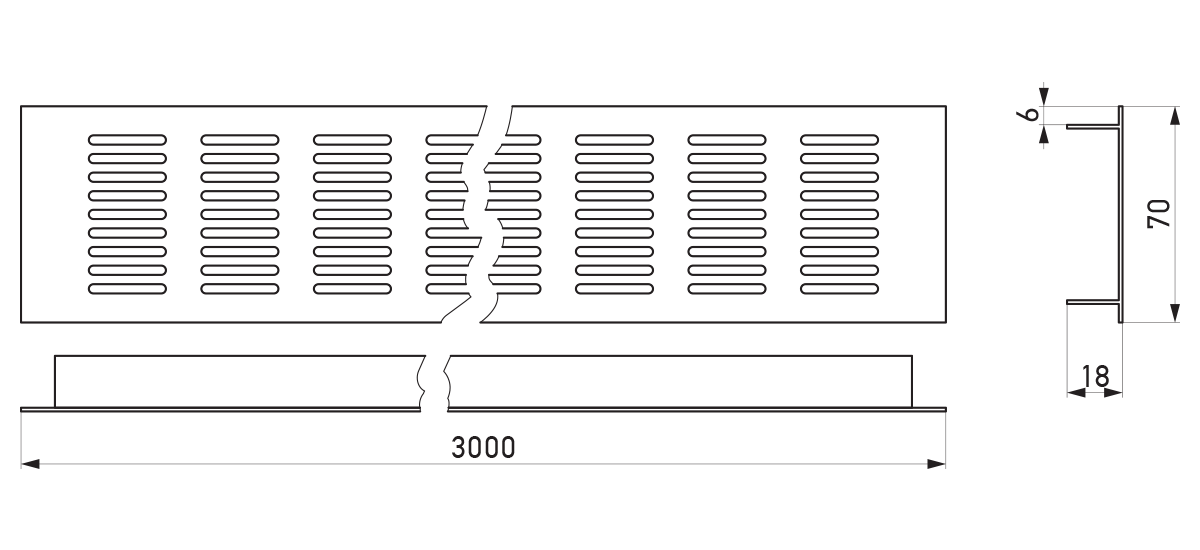 VRS-002D - Crtež ventilacione rešetke 70×3000 mm