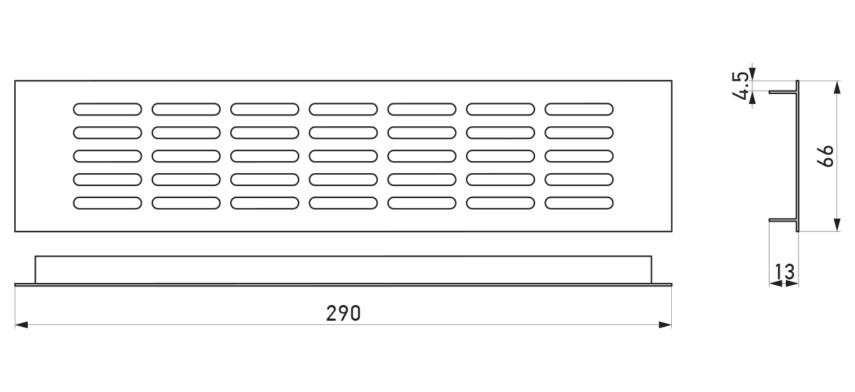 VRS-003 - Crtež ventilacione rešetke 66×290 mm