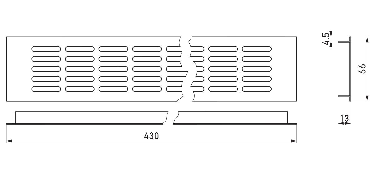 VRS-004 - Crtež ventilacione rešetke 66×430 mm