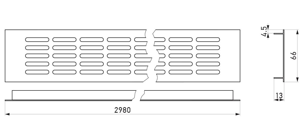 VRS-009 - Crtež ventilacione rešetke 66×2980 mm