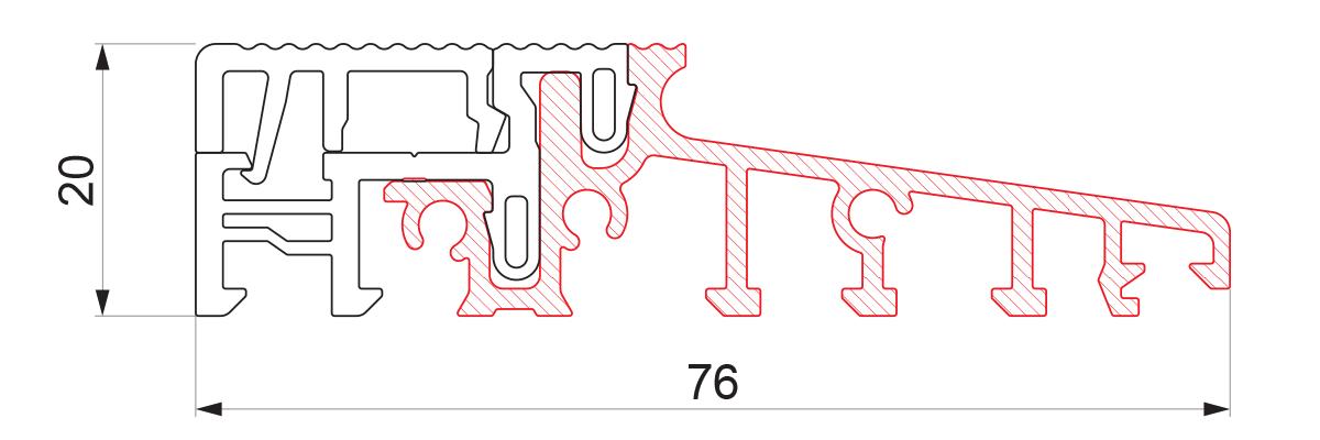 17762 - Aluminijumski prag sa termo prekidom 76x20 - 6m