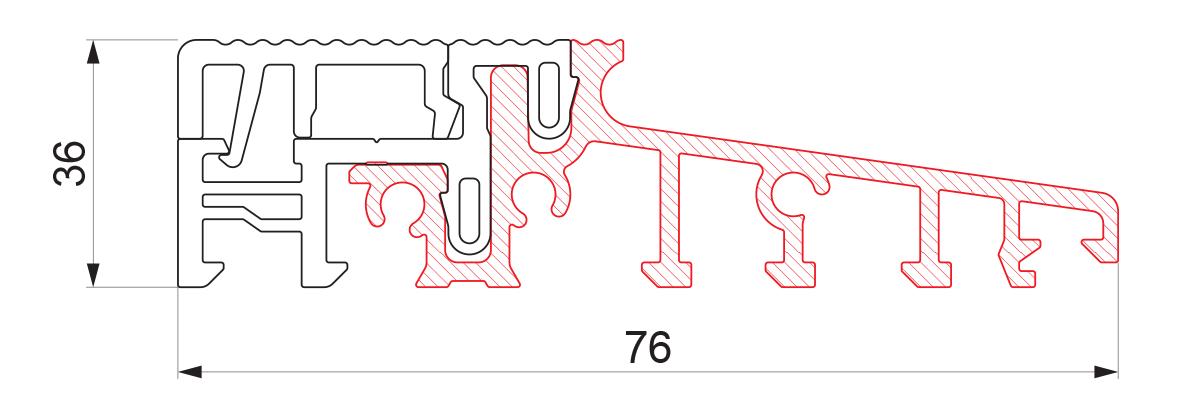 17762 - Aluminijumski prag sa termo prekidom 76x36 - 6m