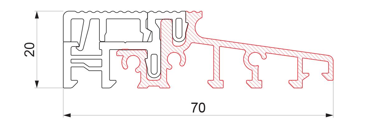 17943 - Aluminijumski prag sa termo prekidom 70x20 - 6m