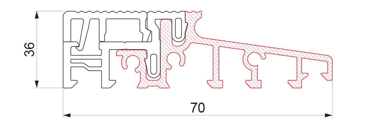 17943 - Aluminijumski prag sa termo prekidom 70x36 - 6m