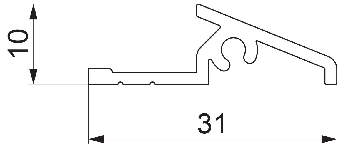 17946 - Aluminijumska vetar lajsna za vrata tip L - 6 m