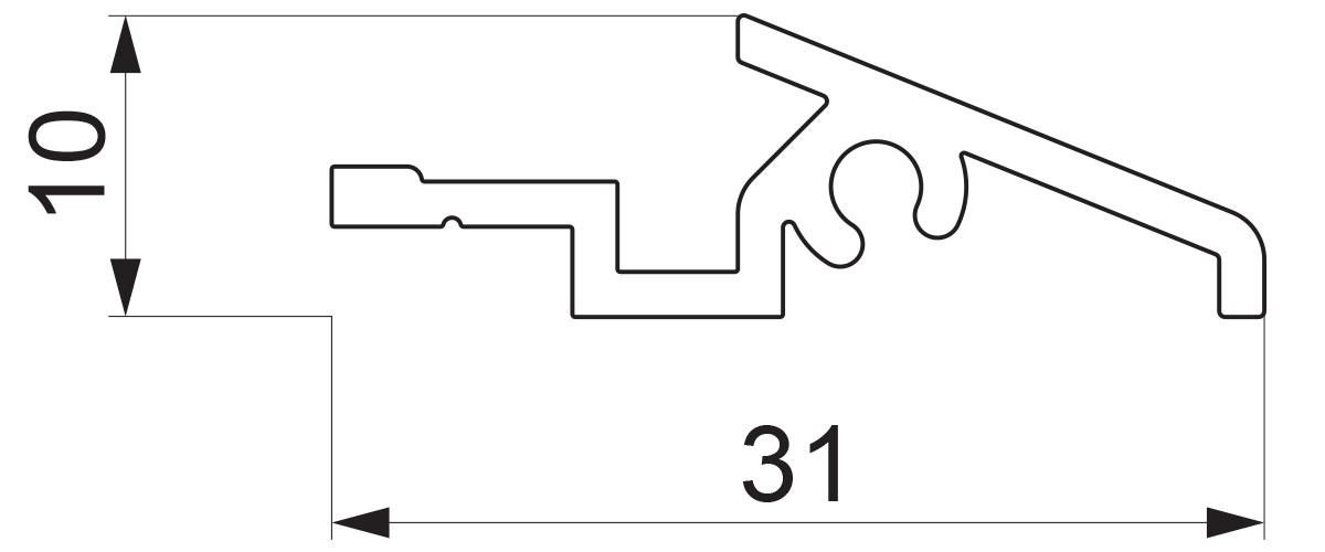 17947 - Aluminijumska vetar lajsna za vrata tip Z - 6 m