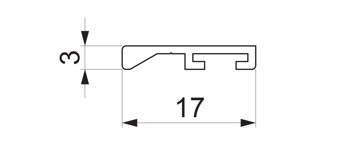 17977 - Jednokanalni aluminijumski profil za četkicu - 6 m