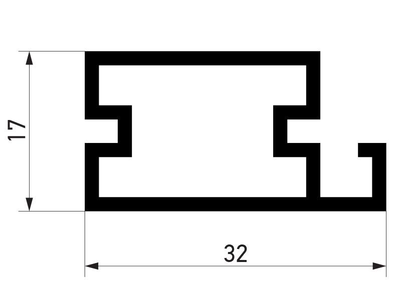 PFK-001 - PVC profil 17×32 za fiksni komarnik