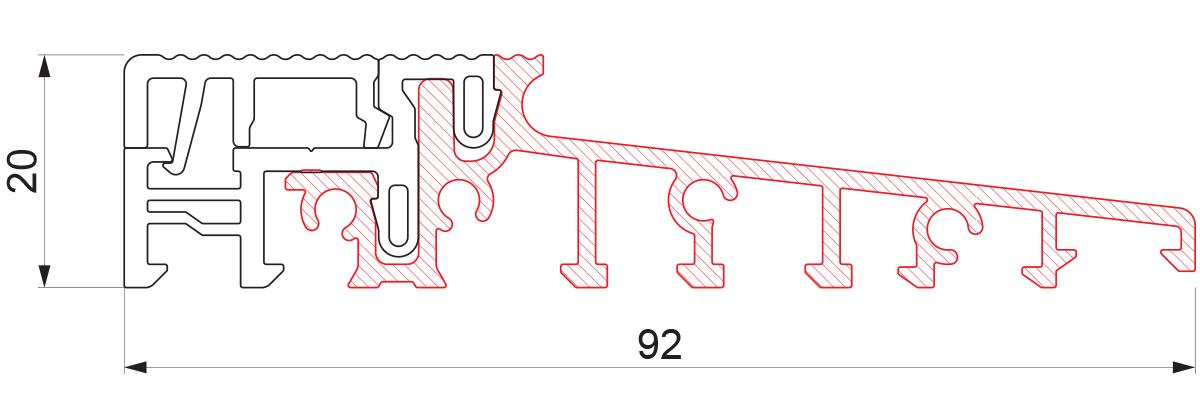 Aluminijumski prag sa termo prekidom 92x20 - 6m